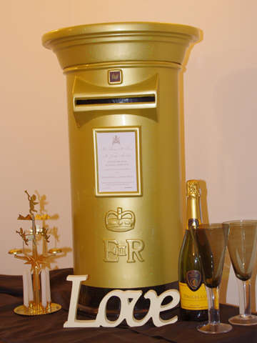 Holographic Sparkle Gold Wedding Post Box
