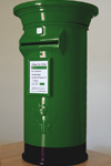 Emerald green and black wedding post box hire