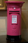 Hot pink and black wedding post box hire