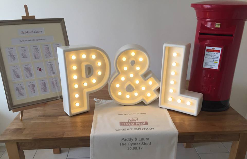 Package deals of wedding post box, illuminated letters, table seating plan and personalised post bags available