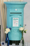 Pale blue and black wedding post box hire