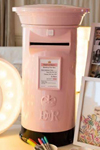 Pale pink and black wedding post box hire