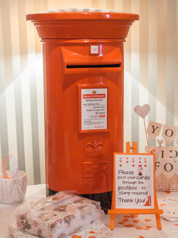 Orange and Black Wedding Post Box Hire