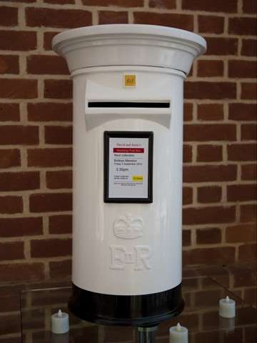White and Black Wedding Post Box Hire