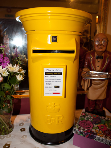 Yellow and Black Wedding Post Box Hire