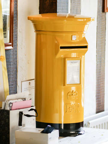 Yellow Wedding Post Box Royal Mail